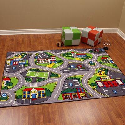 Paradise Street Map Gray Kids Rug