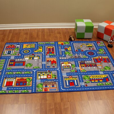 Paradise Town Map Blue Kids Rug