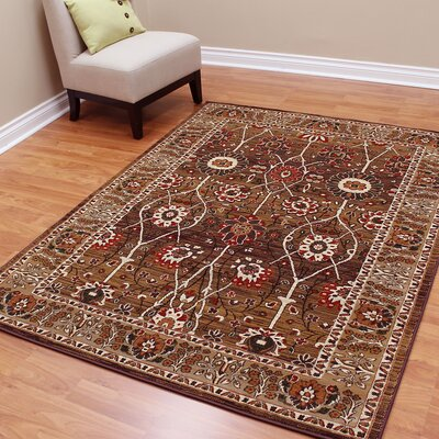 Cambridge Oriental Floral Brown Area Rug