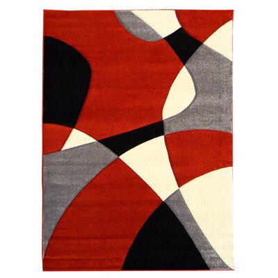 Hollywood Red/Gray Area Rug Rug Size: 79 x 107