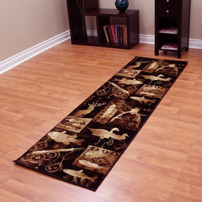Lodge Machine Woven Brown Indoor Area Rug Rug Size: Runner 22 x 71