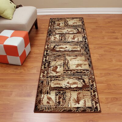 Lodge Machine Woven Tan Indoor Area Rug Rug Size: Runner 22 x 71