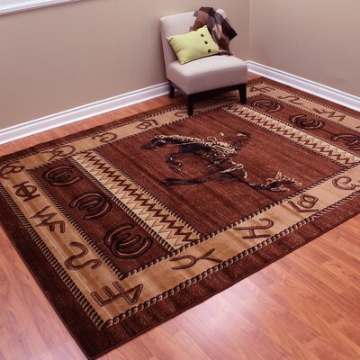 Lodge Machine Woven Brown Indoor Area Rug Rug Size: 77 x 105