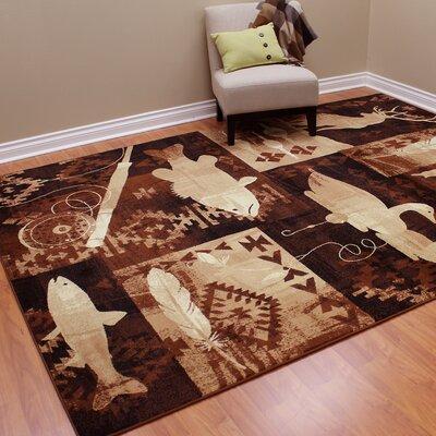 Lodge Machine Woven Brown Indoor Area Rug Rug Size: 77 x 104