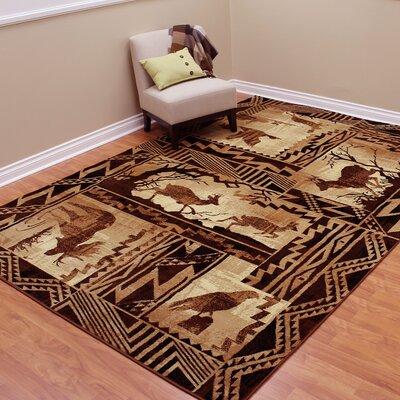 Lodge Machine Woven Tan Indoor Area Rug Rug Size: 77 x 105