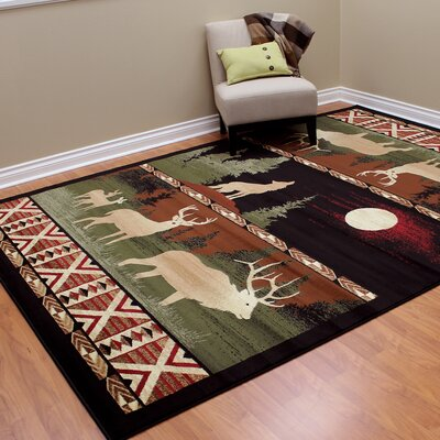Lodge Machine Woven Black Indoor Area Rug Rug Size: 77 x 105