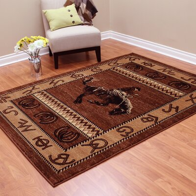 Lodge Machine Woven Brown Indoor Area Rug Rug Size: 52 x 7