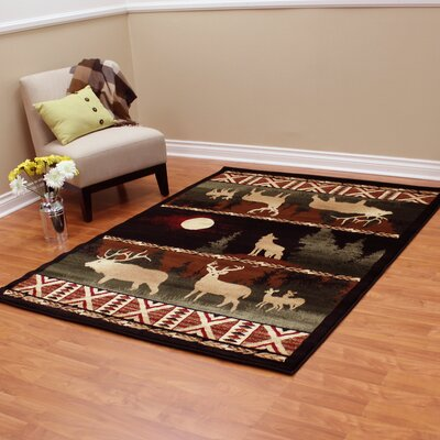 Lodge Machine Woven Black Indoor Area Rug Rug Size: 52 x 71