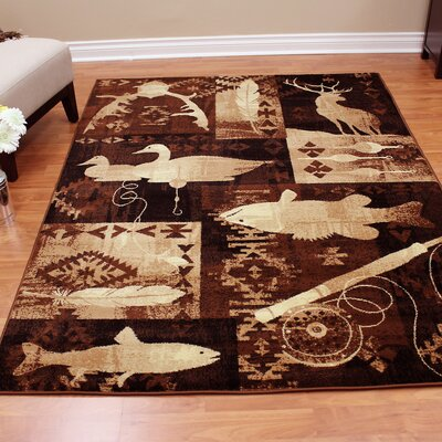 Lodge Machine Woven Brown Indoor Area Rug Rug Size: 52 x 71