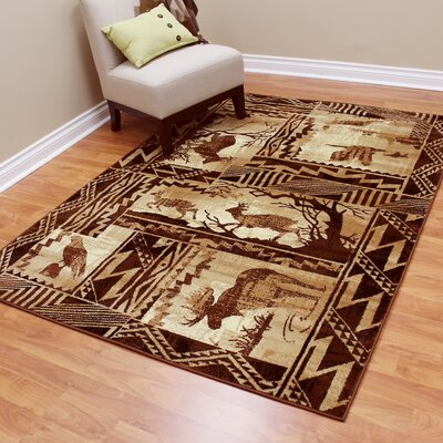 Lodge Machine Woven Tan Indoor Area Rug Rug Size: 52 x 71
