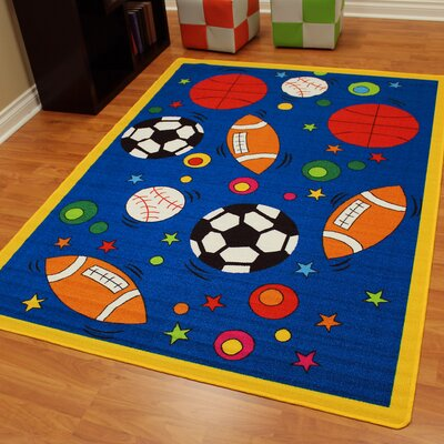 Paradise Design Sports Balls Blue Kids Rug