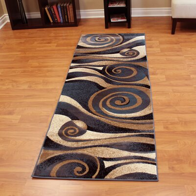 Sculpture Abstract Swirl Design Beige/Blue Area Rug