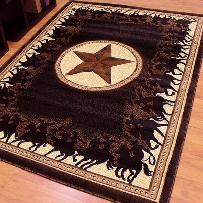 Traditions 726 Western Star Black Area Rug