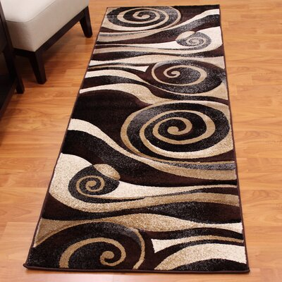 Glenham Dark Brown Area Rug Rug Size: Runner 27.5 x 71.5