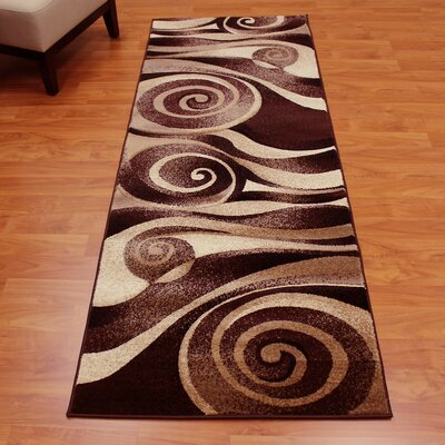 Candyce Sculpture Abstract Swirl Chocolate Area Rug
