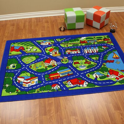 Paradise Design Street Map Blue Area Rug