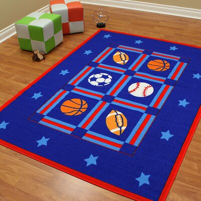 Paradise Design Sports Package Bule Indoor Area Rug Rug Size: 5 x 7