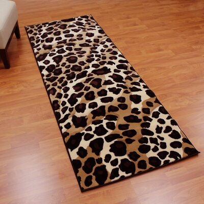 Sculpture Leopard Skin Print Black/Brown Area Rug Rug Size: Runner 27.5 x 71.5