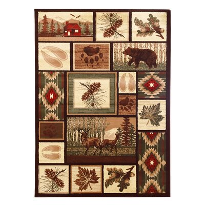 Matteo Pine Cone, Bear and Deer Brown Area Rug
