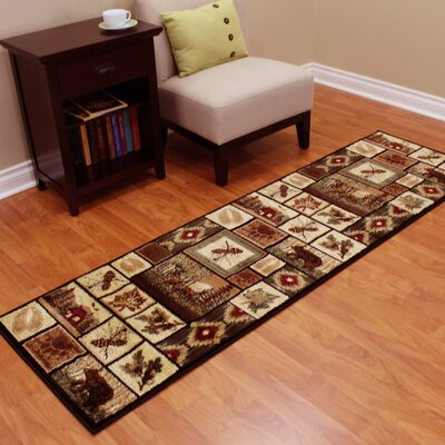 August Pine Cone, Bear and Deer Brown Area Rug
