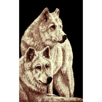 African Adventure 2 Wolves Area Rug Rug Size: 52 x 7