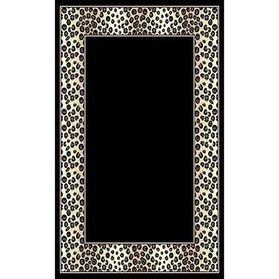 African Adventure Black Leopard Border Area Rug Rug Size: 52 x 7