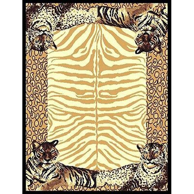 African Adventure Tiger Border Area Rug Rug Size: 52 x 7