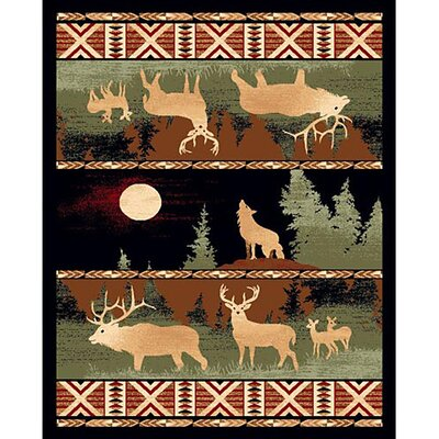 Lodge Design Wolf and Deer Rug