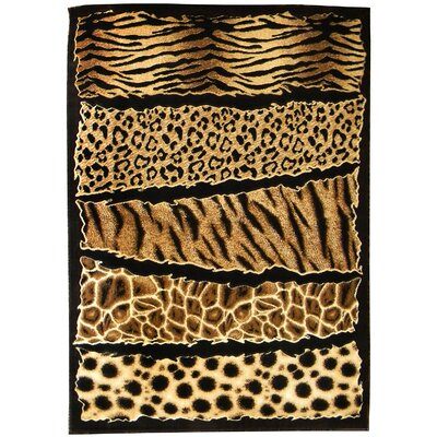 Skinz 71 Mixed Brown Animal Skin Prints Horizontal Patchwork Area Rug Rug Size: 7 x 5