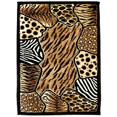 Skinz 74 Mixed Brown Animal Skin Prints Patchwork Area Rug Rug Size: 7 x 5