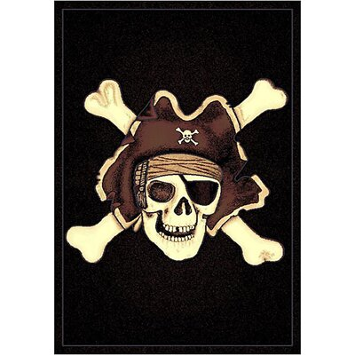 Skinz 77 Mixed Black Skull Pirate Area Rug Rug Size: 7 x 5