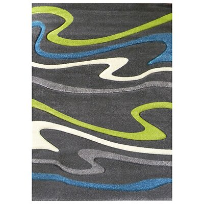 Studio 603 Charcoal Wave Area Rug Rug Size: 7 x 5