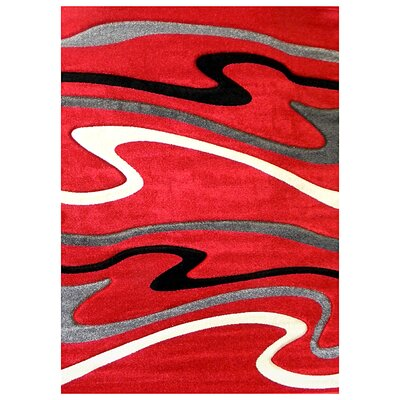 Studio 603 Red Wave Area Rug Rug Size: 7 x 5