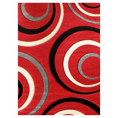 Studio 605 Red Geometric Area Rug Rug Size: 7 x 5
