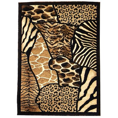Animal Skin Prints Patchwork Design Brown Area Rug Rug Size: 5 x 7