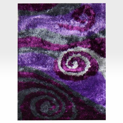 Flash Shaggy Lilac Abstract Swirl Area Rug Rug Size: 5 x 7