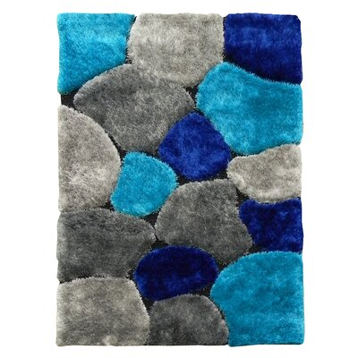 Flash Shaggy Blue/Gray Abstract Block Area Rug Rug Size: 5 x 7