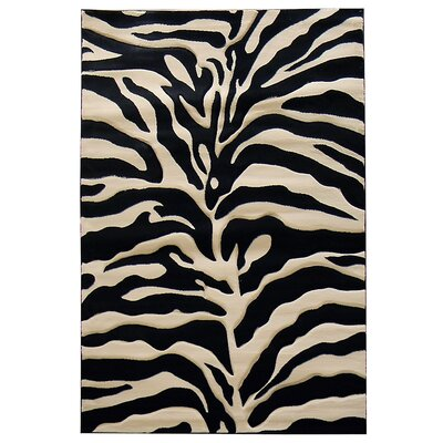 Sculpture Black/Cream Zebra Skin Print Area Rug Rug Size: 5 x 7