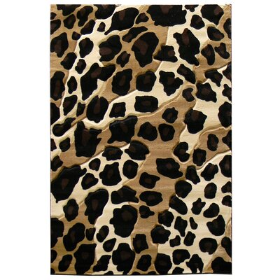 Sculpture Leopard Skin Print Black/Brown Area Rug Rug Size: 5 x 7