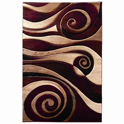 Sculpture Burgundy/Beige Abstract Swirl Area Rug Rug Size: 5 x 7