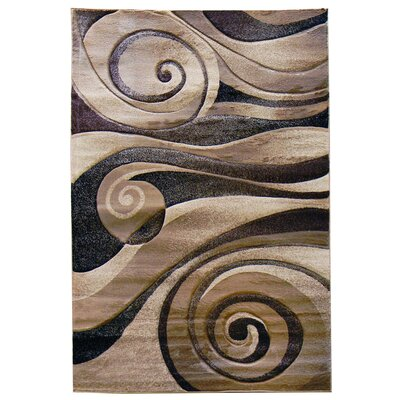 Sculpture Brown/Tan Abstract Swirl Area Rug Rug Size: 5 x 7