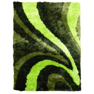 Flash Shaggy Green Abstract Wave Area Rug Rug Size: 5 x 7