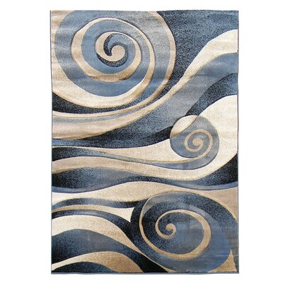 Sculpture Blue/Beige Abstract Swirl Area Rug Rug Size: 5 x 7
