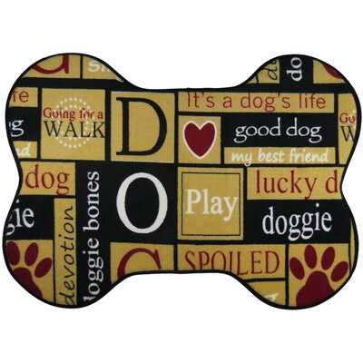 I Love Dogs Memory Foam Pet Mat Size: 20 x 28 (Bone Shape)