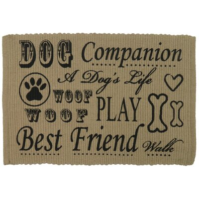 PB Paws & Co. Dog Companion Cotton Pet Mat Color: Linen/Black, Size: 30 W x 20 D