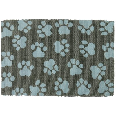 PB Paws & Co. World Paws Cotton Pet Mat Size: 24 W x 16 D, Color: Grey/Aqua