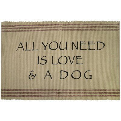PB Paws & Co. Need Love and Dog Cotton Pet Mat Size: 24 W x 16 D