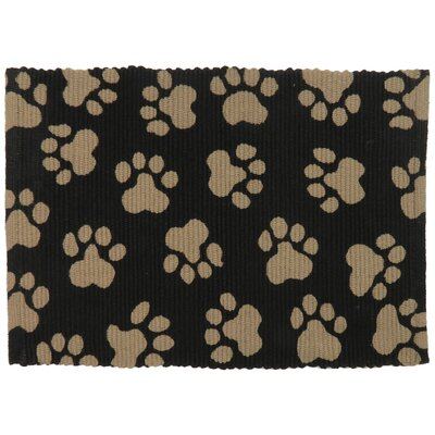 PB Paws & Co. World Paws Cotton Pet Mat Color: Black/Linen, Size: 19 W x 13 D