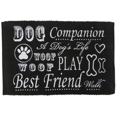 PB Paws & Co. Dog Companion Cotton Pet Mat Size: 30 W x 20 D, Color: Black/White