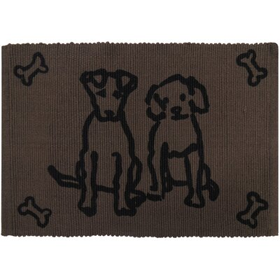 PB Paws & Co. Dog Friends Cotton Pet Mat Size: 19 W x 13 D, Color: Chocolate
